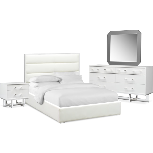 Bedroom Furniture - Concerto 6-Piece Queen Bedroom Set - White
