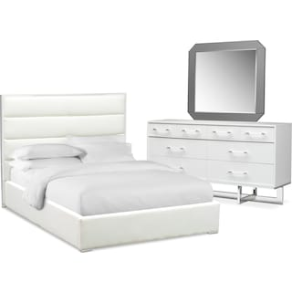 Concerto 5-Piece Queen Bedroom Set with Dresser and Mirror - White