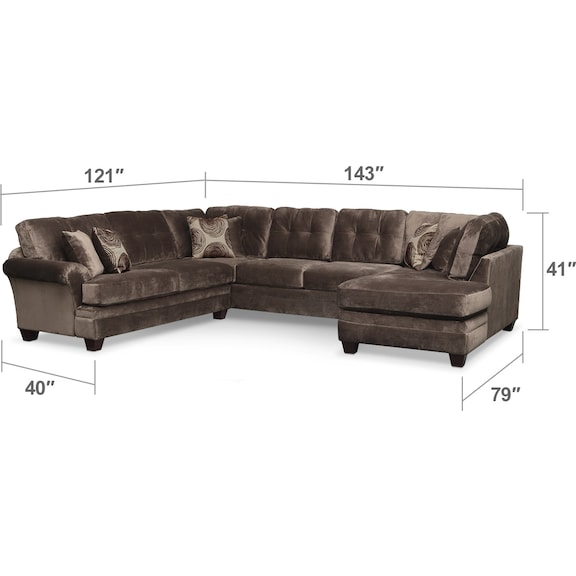 Living Room Furniture - Cordelle 3-Piece Sectional with Right-Facing Chaise and Swivel Chair Set