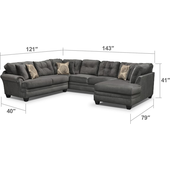Living Room Furniture - Cordelle 3-Piece Sectional with Chaise and Swivel Chair Set
