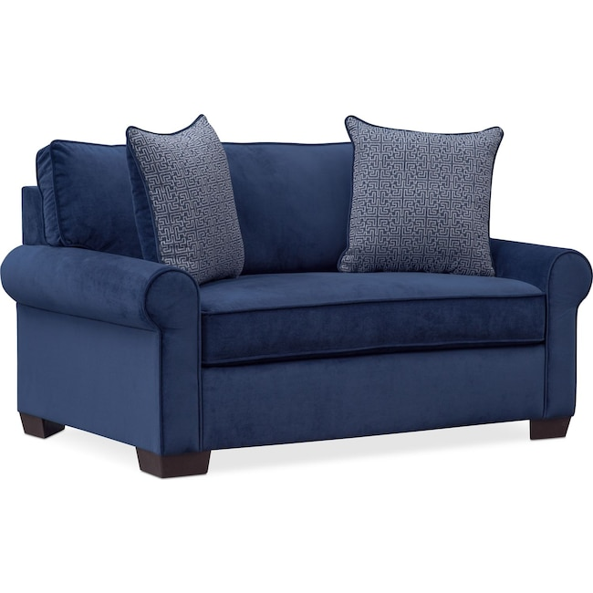 Living Room Furniture - Blake Twin Innerspring Sleeper Chair and a Half - Indigo