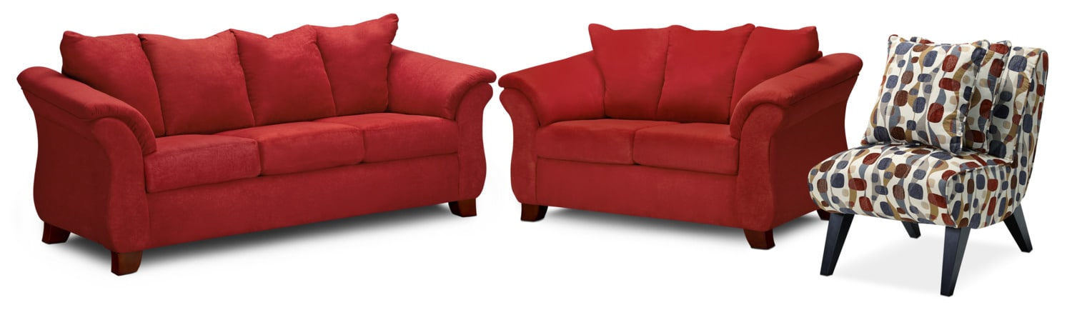 Adrian Sofa Loveseat And Accent Chair Set Red