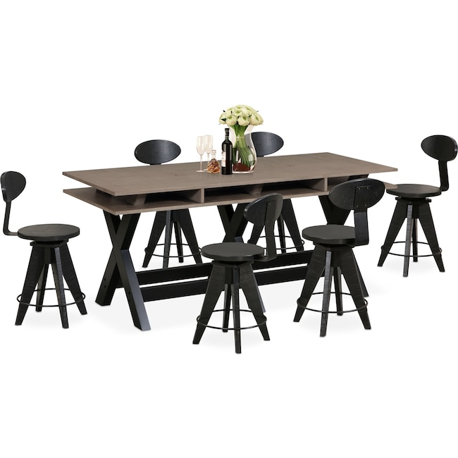 Dining Room Furniture - Tech Counter-Height Dining Station and 6 Drafting Stools - Black
