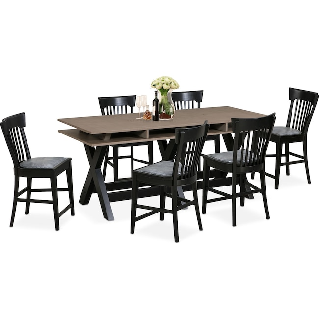Dining Room Furniture - Tech Counter-Height Dining Station and 6 Slat-Back Stools - Black