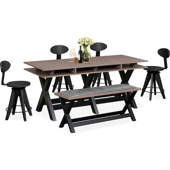 Dining Room Furniture - Tech Counter-Height Dining Station, 4 Drafting Stools and Bench - Black