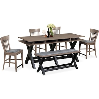 Tech Counter-Height Dining Station, 4 Slat-Back Stools and Bench - Gray