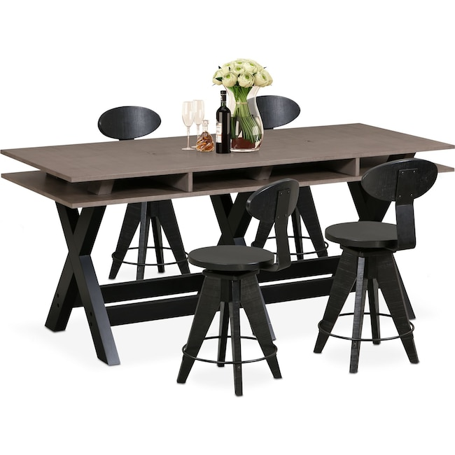 Dining Room Furniture - Tech Counter-Height Dining Station and 4 Drafting Stools - Black