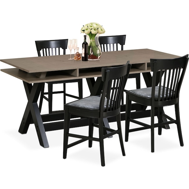Dining Room Furniture - Tech Counter-Height Dining Station and 4 Slat-Back Stools - Black