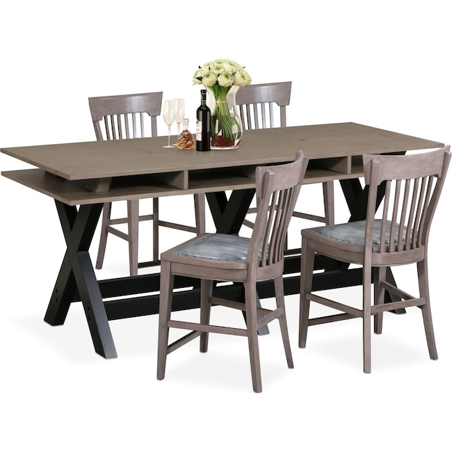 Dining Room Furniture - Tech Counter-Height Dining Station and 4 Slat-Back Stools - Gray