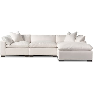 Plush 3-Piece Sofa and Ottoman - Ivory