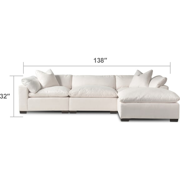 Living Room Furniture - Plush 3-Piece Sofa and Ottoman