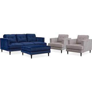 Parker Sofa, 2 Chairs and Ottoman Set - Indigo and Gray