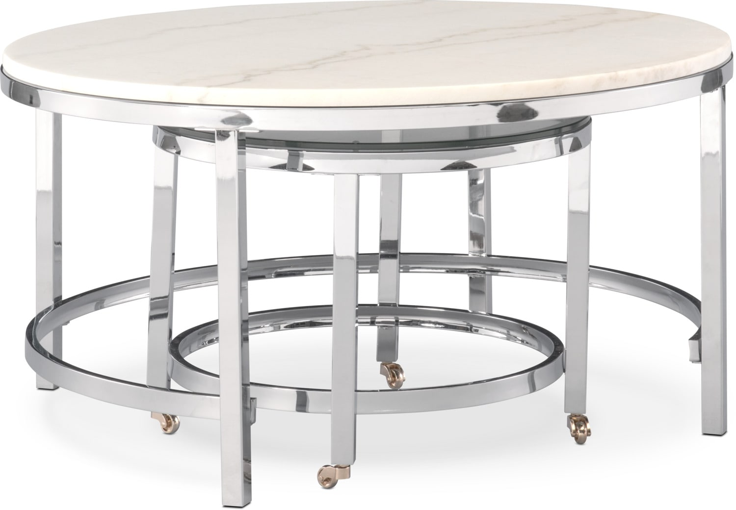 Accent And Occasional Furniture   Charisma Nesting Cocktail Table   Chrome  And White