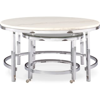 94ecb588ba738 Tap to change Charisma Nesting Coffee Table - Chrome and White Charisma  Nesting Coffee Table - Chrome and White