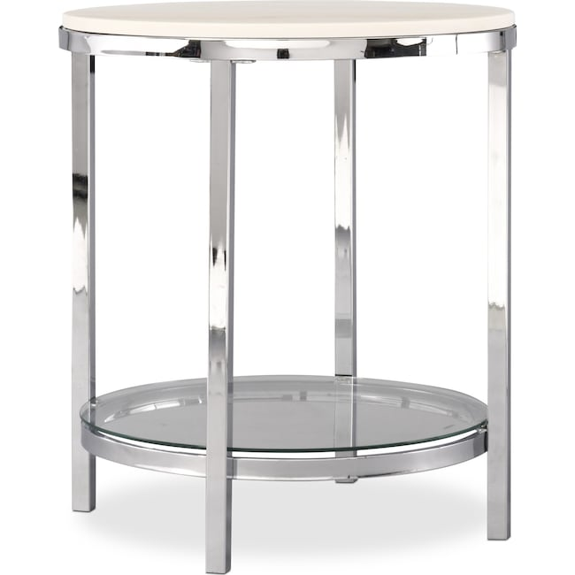 Accent and Occasional Furniture - Charisma End Table - Chrome and White