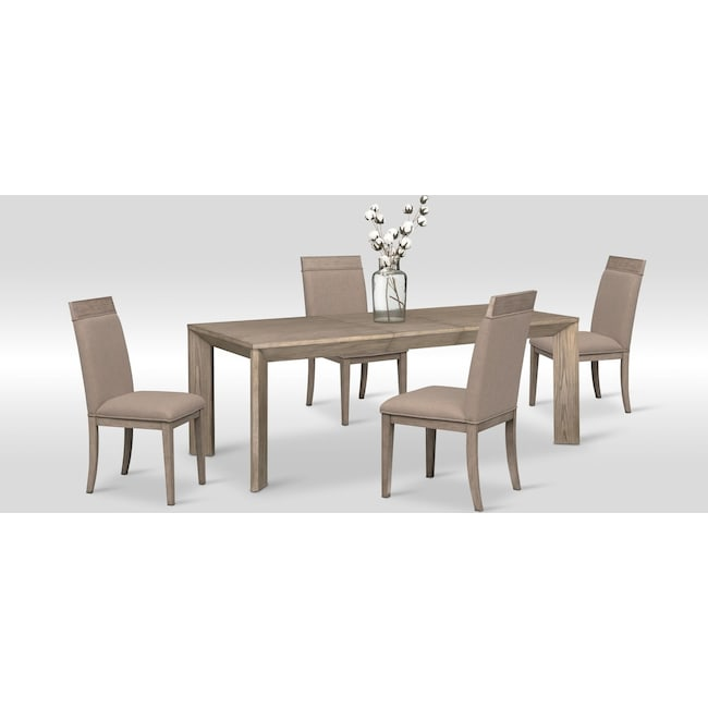 Dining Room Furniture - Gavin Table and 4 Side Chairs - Graystone