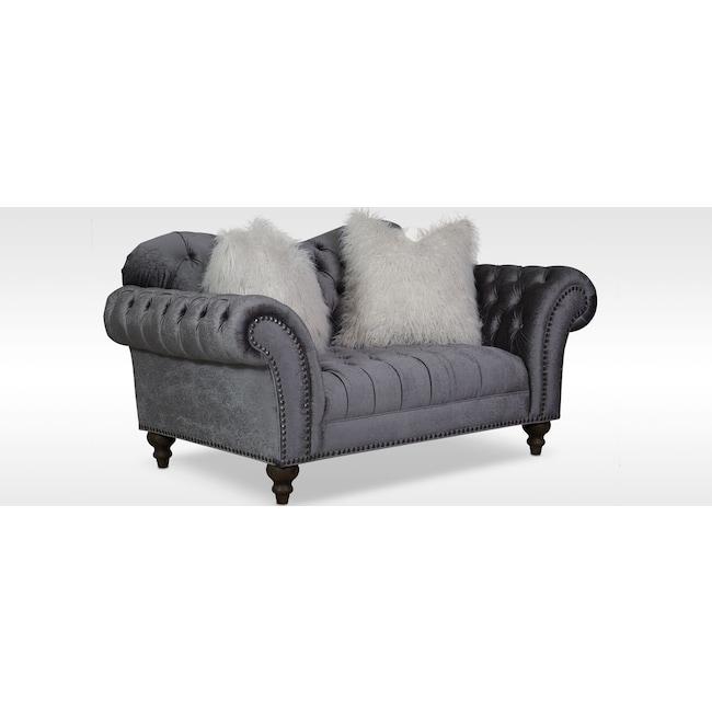 Living Room Furniture - Brittney Loveseat - Charcoal
