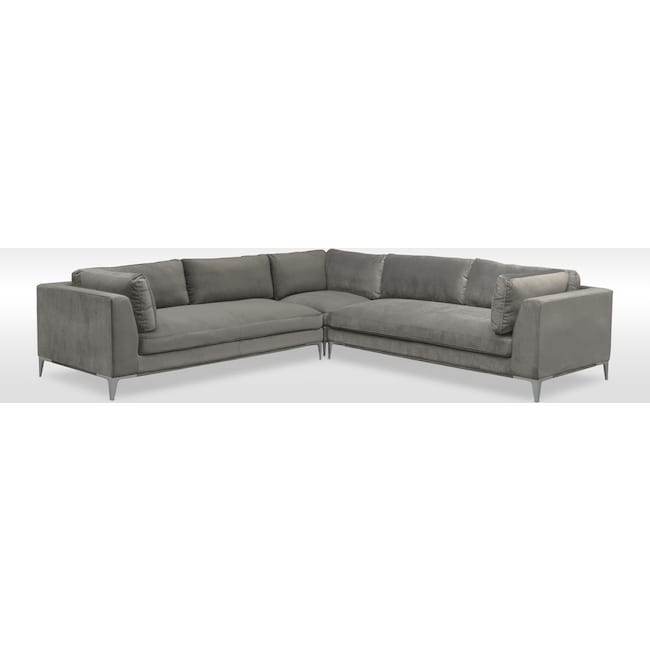 Living Room Furniture - Aaron 3-Piece Sectional - Flannel