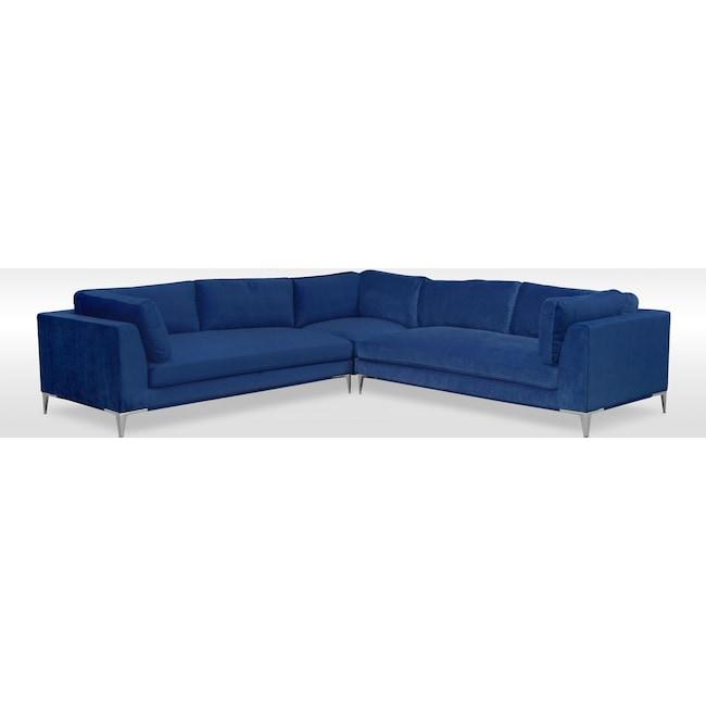 Living Room Furniture - Aaron 3-Piece Sectional - Indigo
