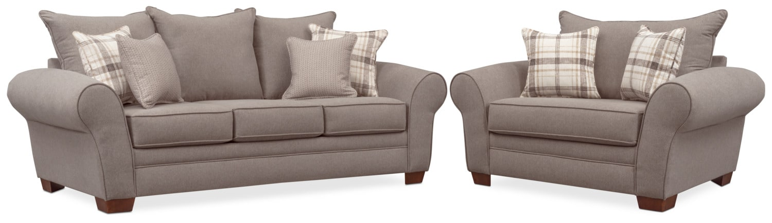 Attirant Living Room Furniture   Rowan Sofa And Chair And A Half Set   Gray