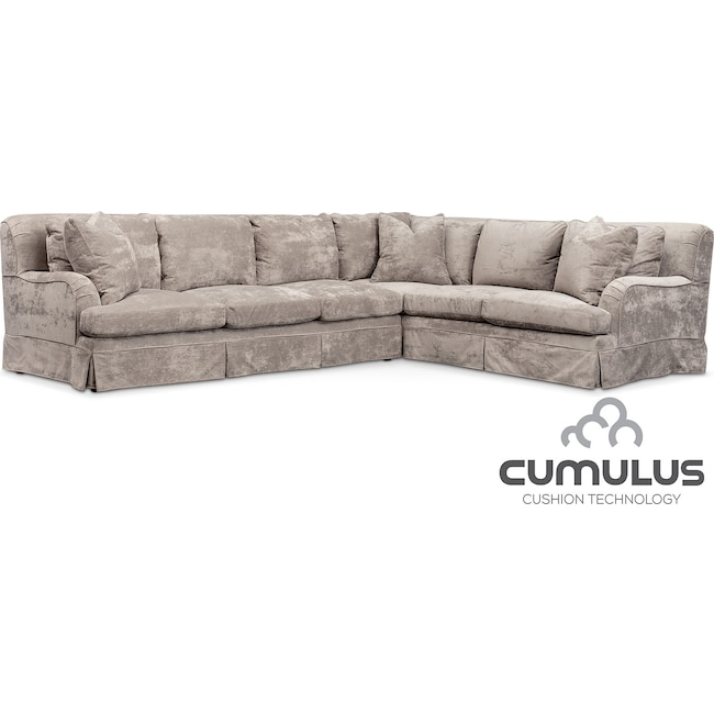 Living Room Furniture - Campbell Cumulus 2-Piece Sectional with Left-Facing Sofa - Cement