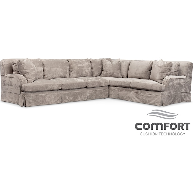 Living Room Furniture - Campbell Comfort 2-Piece Sectional with Left-Facing Sofa - Cement