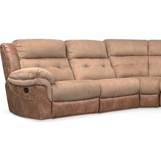 Rockridge 6 Piece Manual Reclining Sectional With 3 Seats Brown