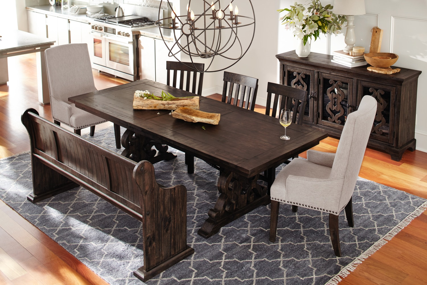 dining room table and bench seating | Charthouse Rectangular Dining Table, 4 Side Chairs and ...