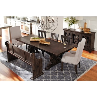 Charthouse Rectangular Dining Table, 4 Side Chairs and Bench