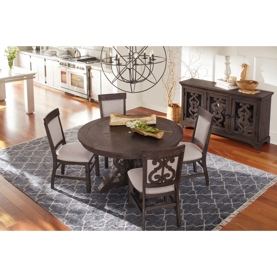 Side Table For Dining Room: Charthouse Round Dining Table And 4 Upholstered Side