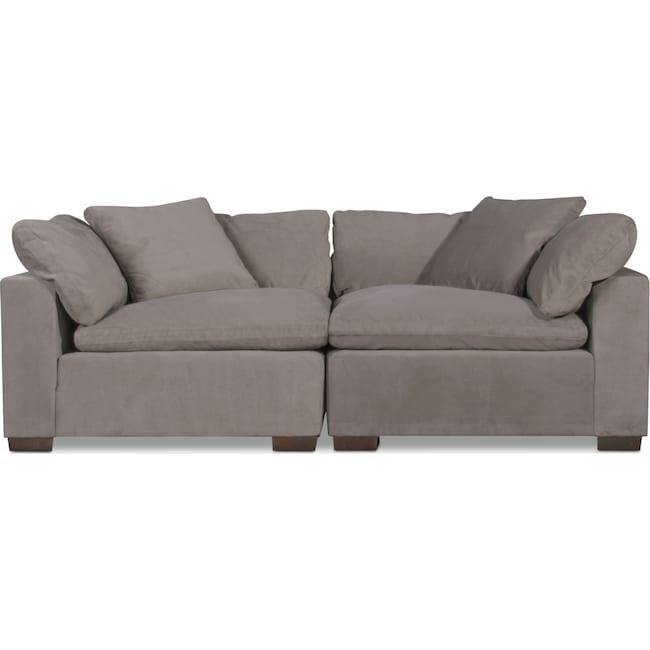 Living Room Furniture - Plush 2-Piece Sectional - Abbington Fog