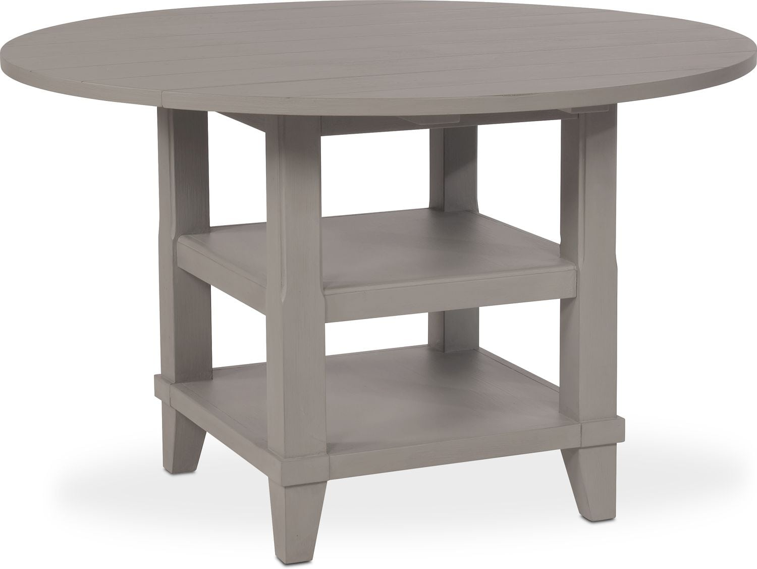 New Haven Round Drop Leaf Dining Table Gray American