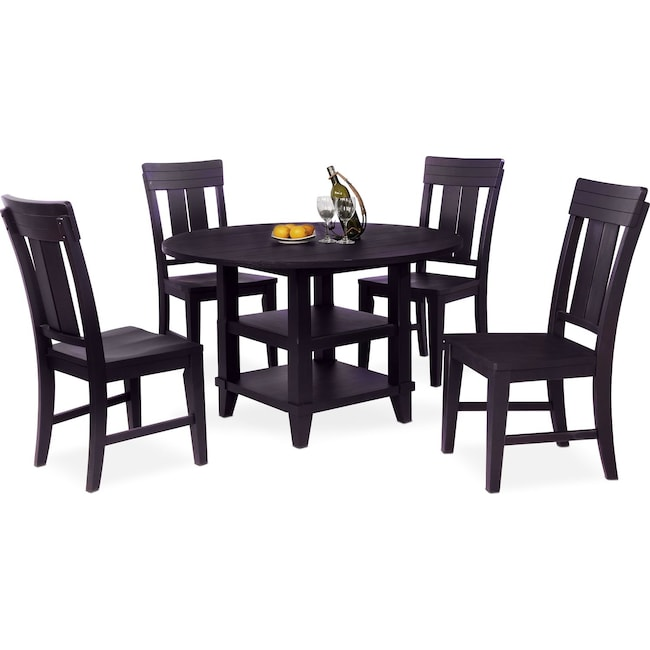 Dining Room Furniture - New Haven Round Dining Table and 4 Slat-Back Side Chairs - Black