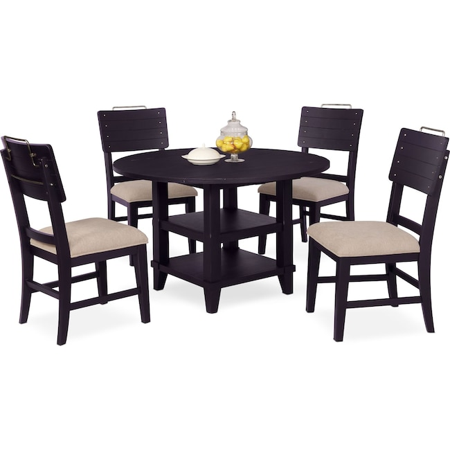 Dining Room Furniture - New Haven Round Dining Table and 4 Shiplap Side Chairs - Black