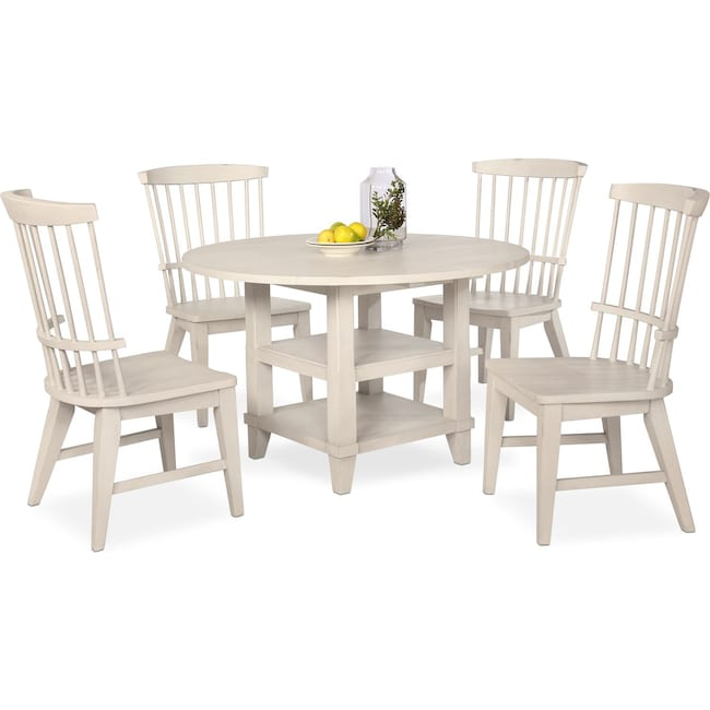 Dining Room Furniture - New Haven Round Dining Table and 4 Windsor Side Chairs - White