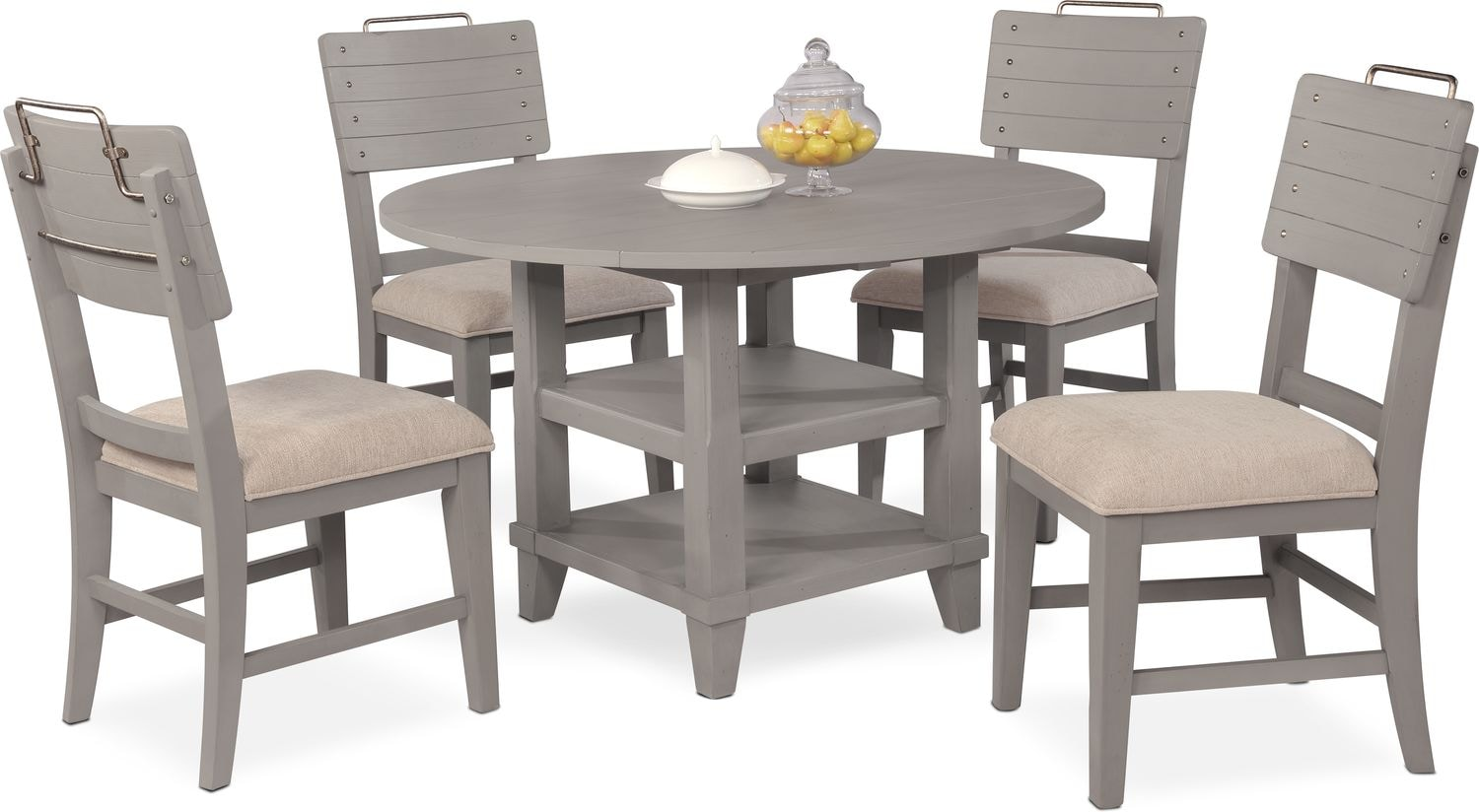 Dining Room Furniture - New Haven Round Dining Table and 4 Shiplap Side Chairs - Gray