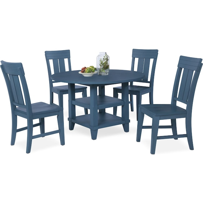 Dining Room Furniture - New Haven Round Dining Table and 4 Slat-Back Side Chairs - Blue