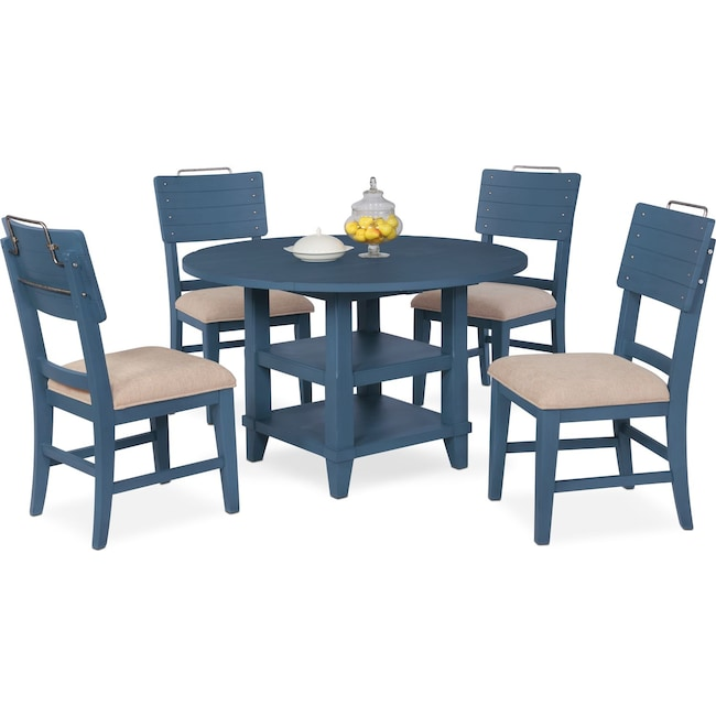 Dining Room Furniture - New Haven Round Dining Table and 4 Shiplap Side Chairs - Blue