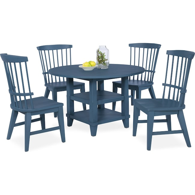 Dining Room Furniture - New Haven Round Dining Table and 4 Windsor Side Chairs - Blue