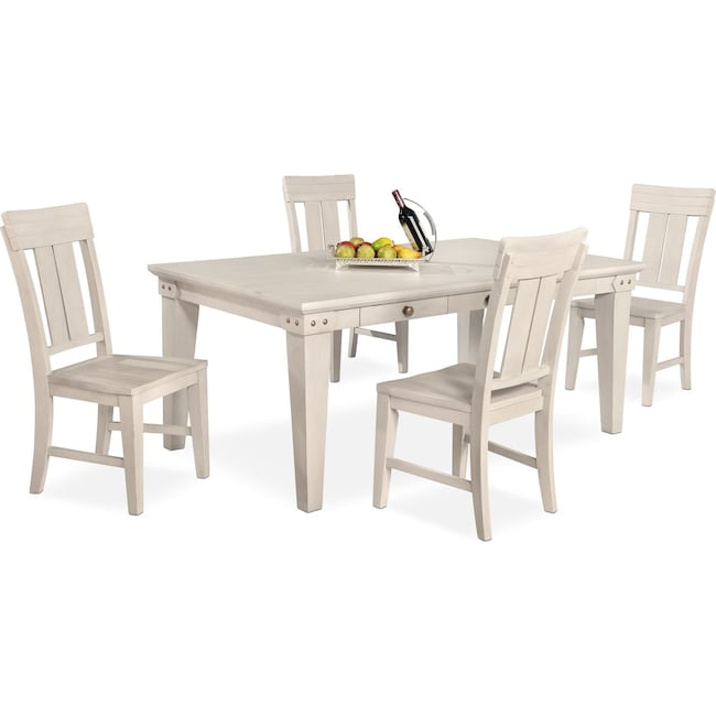 Dining Room Furniture - New Haven Dining Table and 4 Slat-Back Chairs - White