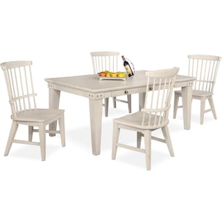 New Haven Dining Table and 4 Windsor Side Chairs - White