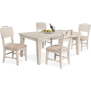 New Haven Dining Table and 4 Shiplap Side Chairs - White