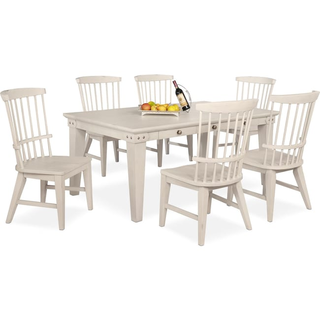 Dining Room Furniture - New Haven Dining Table and 6 Windsor Side Chairs - White