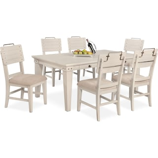 New Haven Dining Table and 6 Shiplap Dining Chairs - White