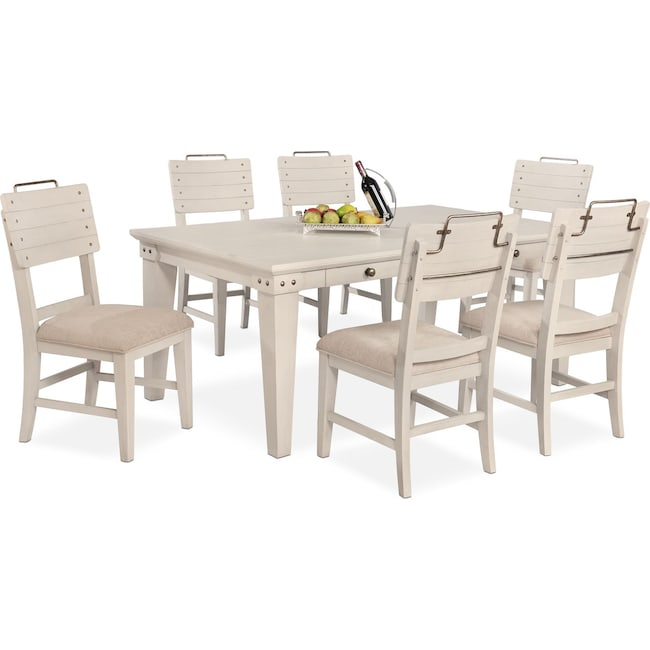 Dining Room Furniture - New Haven Dining Table and 6 Shiplap Side Chairs - White