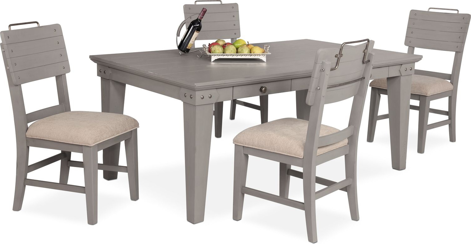 Dining Room Furniture - New Haven Dining Table and 4 Shiplap Side Chairs