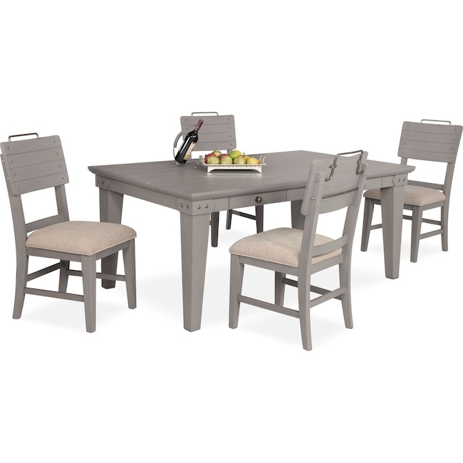 Dining Room Furniture - New Haven Dining Table and 4 Shiplap Side Chairs - Gray