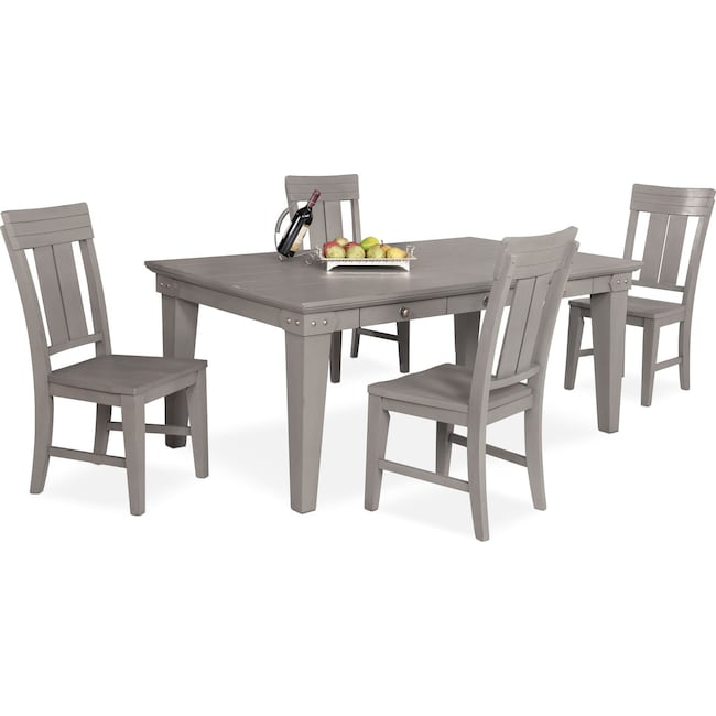 Dining Room Furniture - New Haven Dining Table and 4 Slat-Back Chairs - Gray