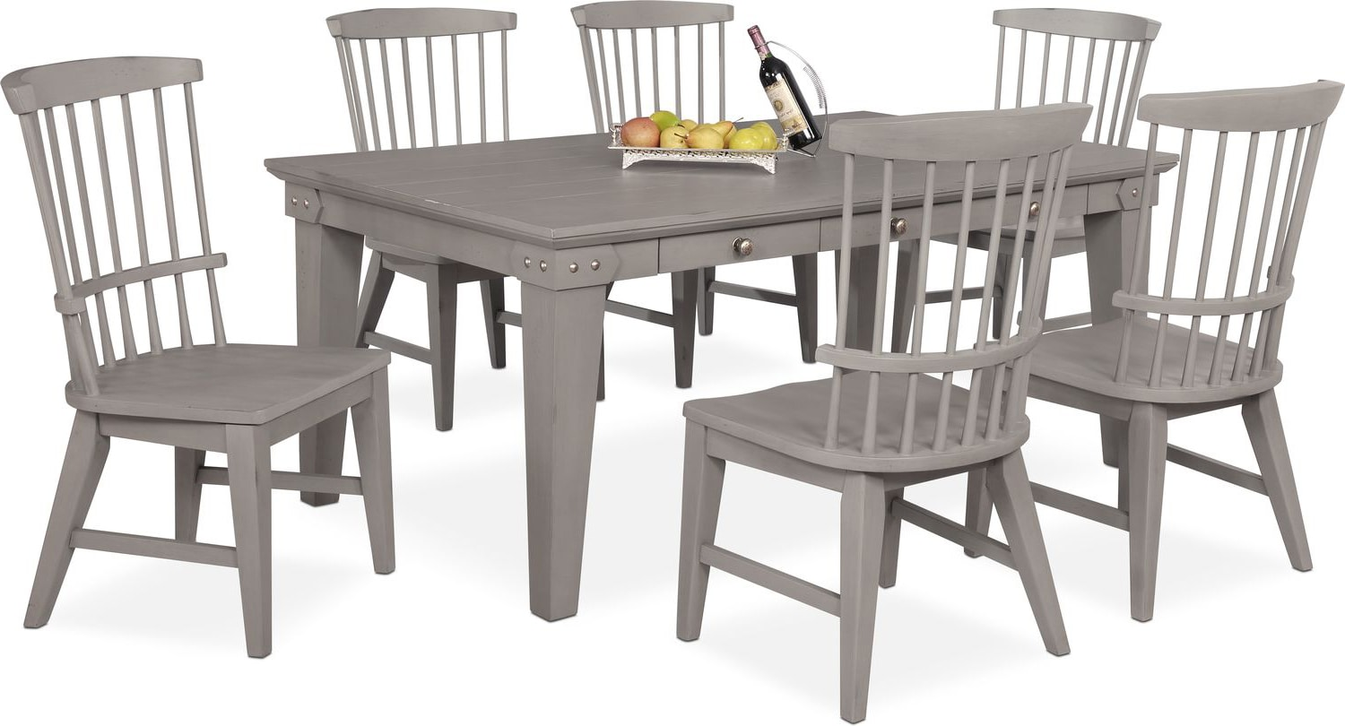 Dining Room Furniture   New Haven Dining Table And 6 Windsor Side Chairs    Gray