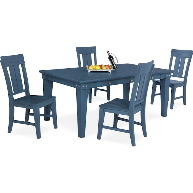 Dining Room Furniture - New Haven Dining Table and 4 Slat-Back Chairs - Blue